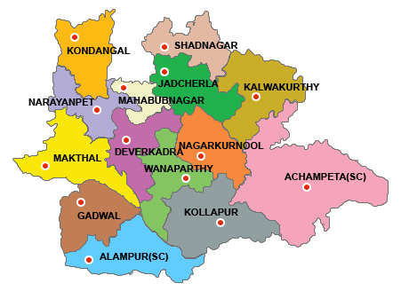 Image result for mahaboobnagar district map